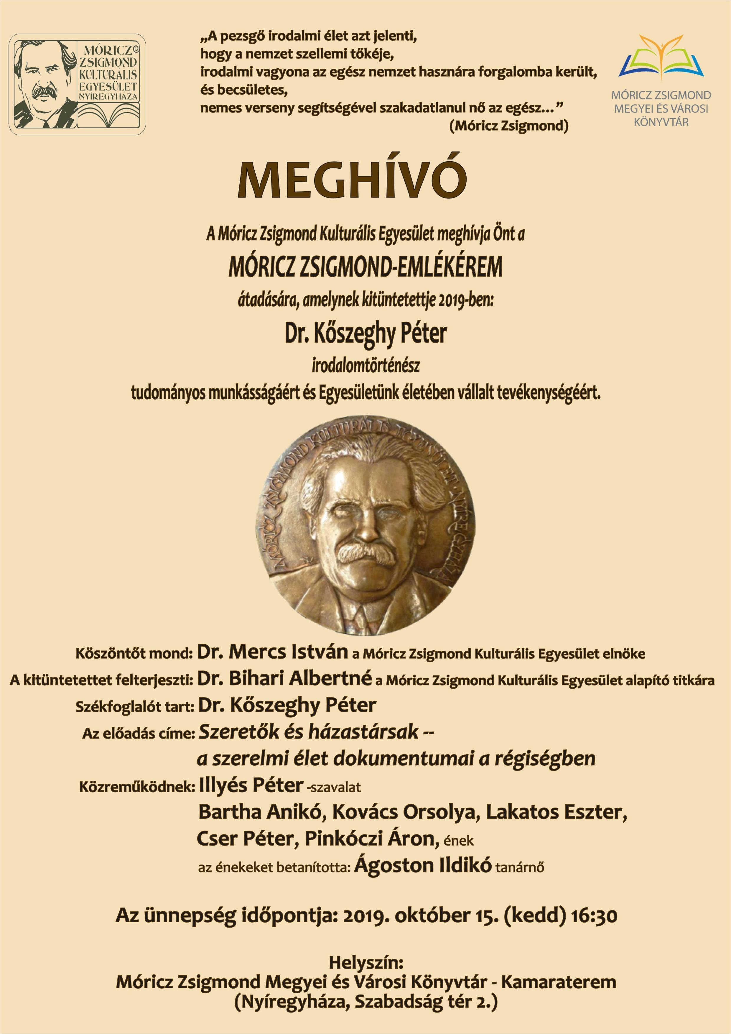 Móricz-emlékérem2019 meghívó